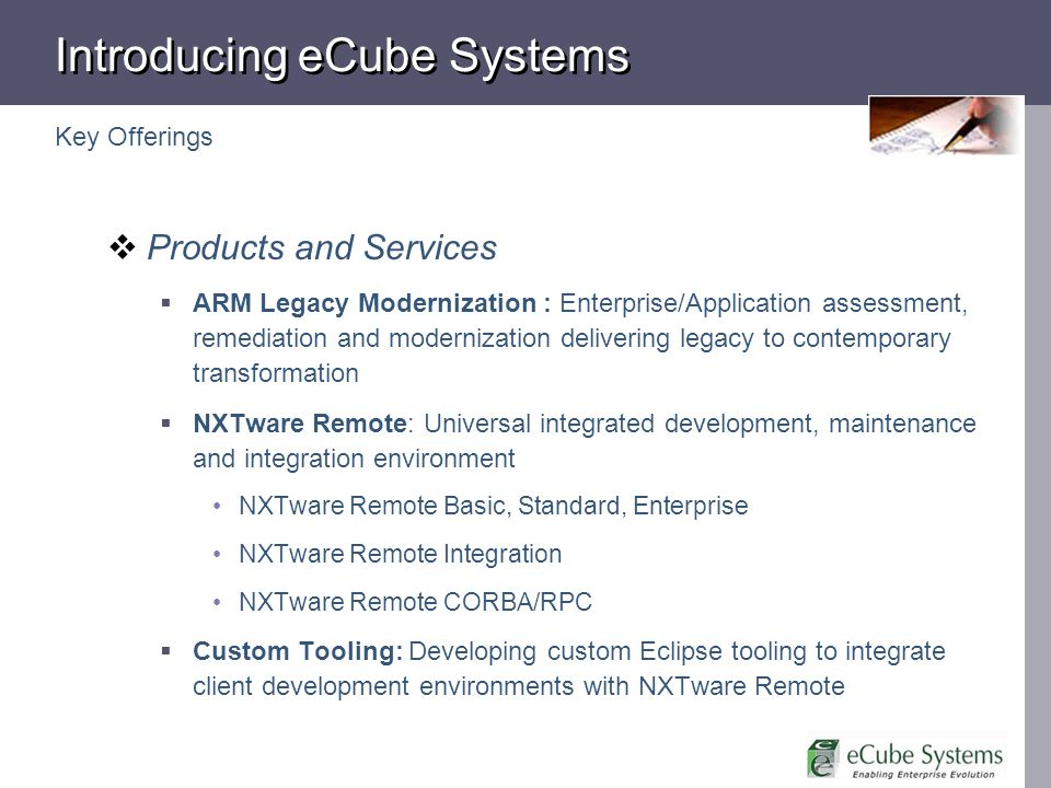 Introducing eCube Systems Products and Services ARM Legacy Modernization : Enterprise/Application assessment, remediation and modernization delivering
