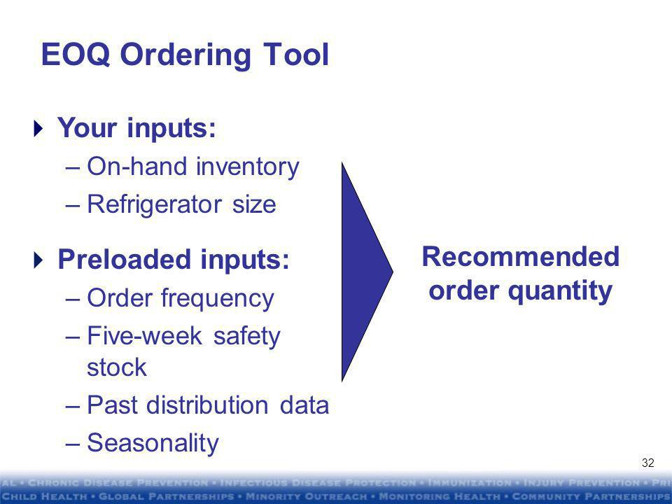 DRAFTDRAFT DRAFTDRAFT EOQ Tools: Provider Ordering Calendar Two-week order windows Illustrative 31