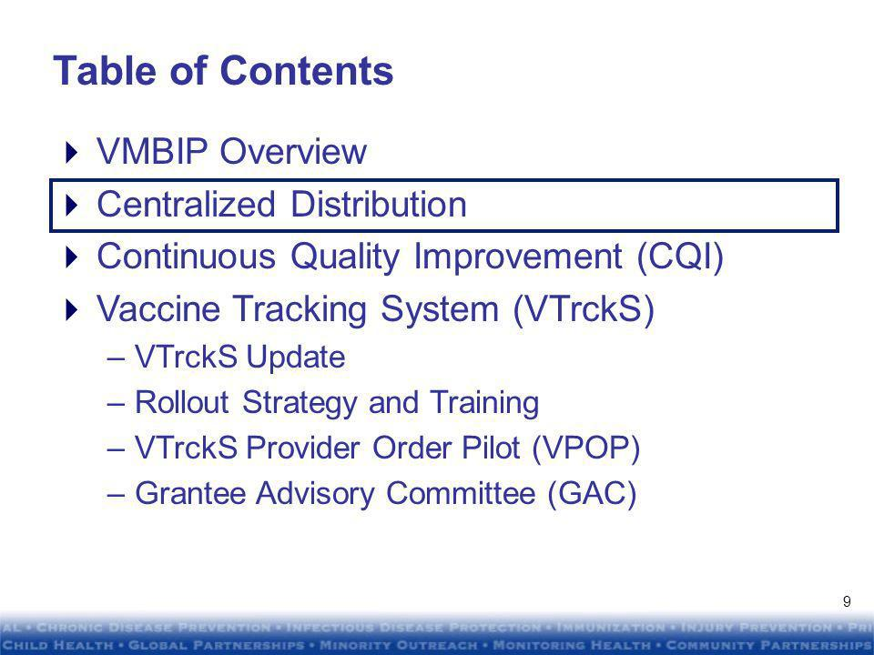 DRAFTDRAFT DRAFTDRAFT Todays presentation will focus on the following VMBIP activities Centralized Distribution Continuous Quality Improvement (CQI) –Economic Order Quantity (EOQ) –Grantee and Provider Efficiency (GPE) Vaccine Tracking System (VTrckS) –VTrckS Update –Rollout Strategy and Training –VTrckS Provider Order Pilot (VPOP) –Grantee Advisory Committee (GAC) 8