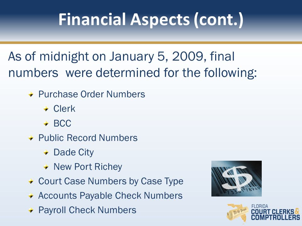 As of midnight on January 5, 2009, final numbers were determined for the following: Purchase Order Numbers Clerk BCC Public Record Numbers Dade City New Port Richey Court Case Numbers by Case Type Accounts Payable Check Numbers Payroll Check Numbers Financial Aspects (cont.)