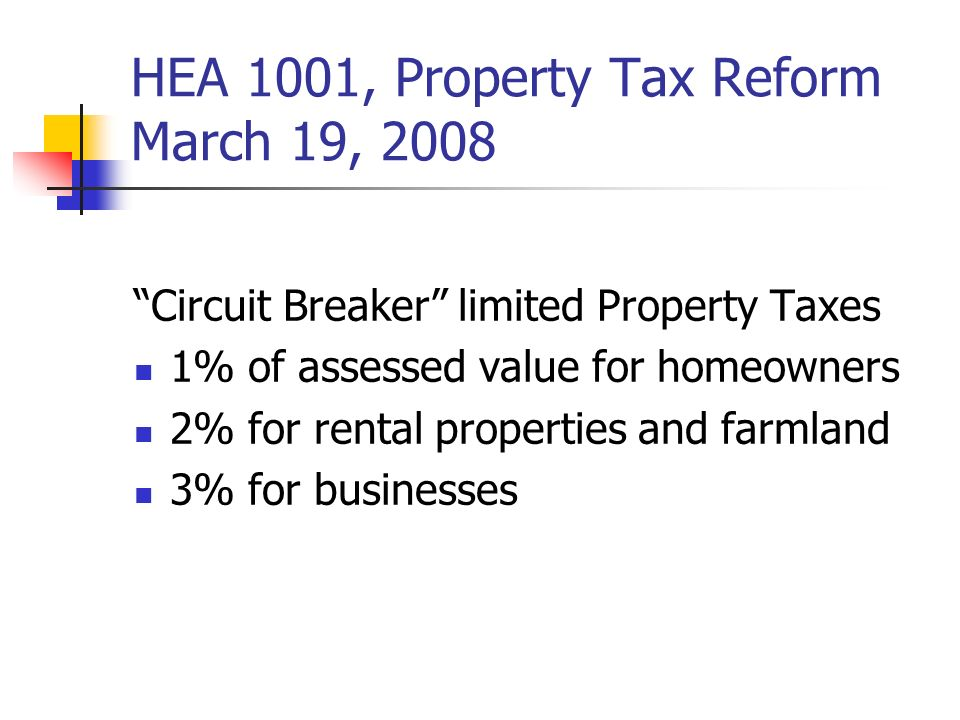HEA 1001, Property Tax Reform March 19, 2008 Circuit Breaker limited Property Taxes 1% of assessed value for homeowners 2% for rental properties and farmland 3% for businesses