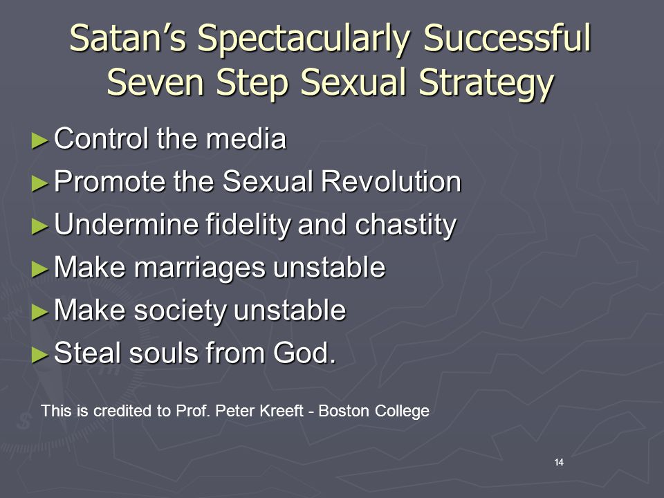14 Satans Spectacularly Successful Seven Step Sexual Strategy Control the media Control the media Promote the Sexual Revolution Promote the Sexual Revolution Undermine fidelity and chastity Undermine fidelity and chastity Make marriages unstable Make marriages unstable Make society unstable Make society unstable Steal souls from God.