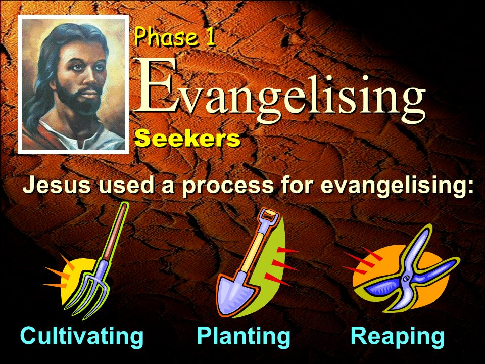 Jesus used a process for evangelising: vangelising E E Phase 1 Seekers Cultivating Planting Reaping