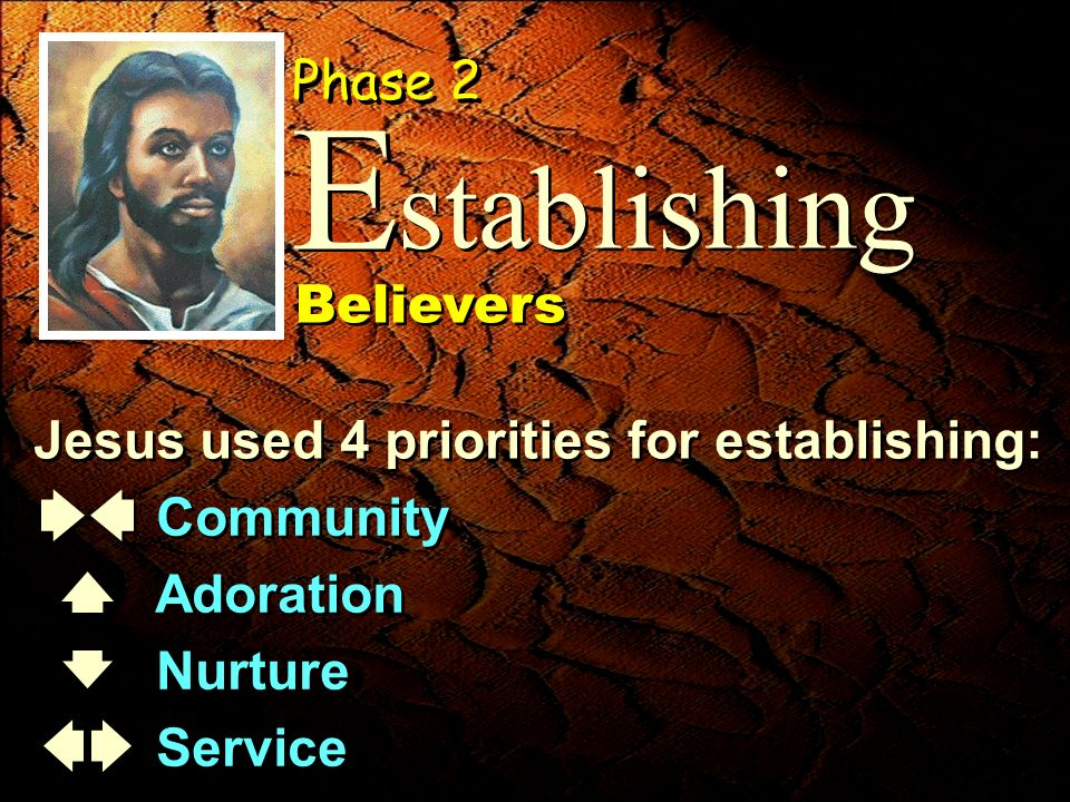 Jesus used 4 priorities for establishing: Community Adoration Nurture Service Community Adoration Nurture Service stablishing E E Phase 2 Believers