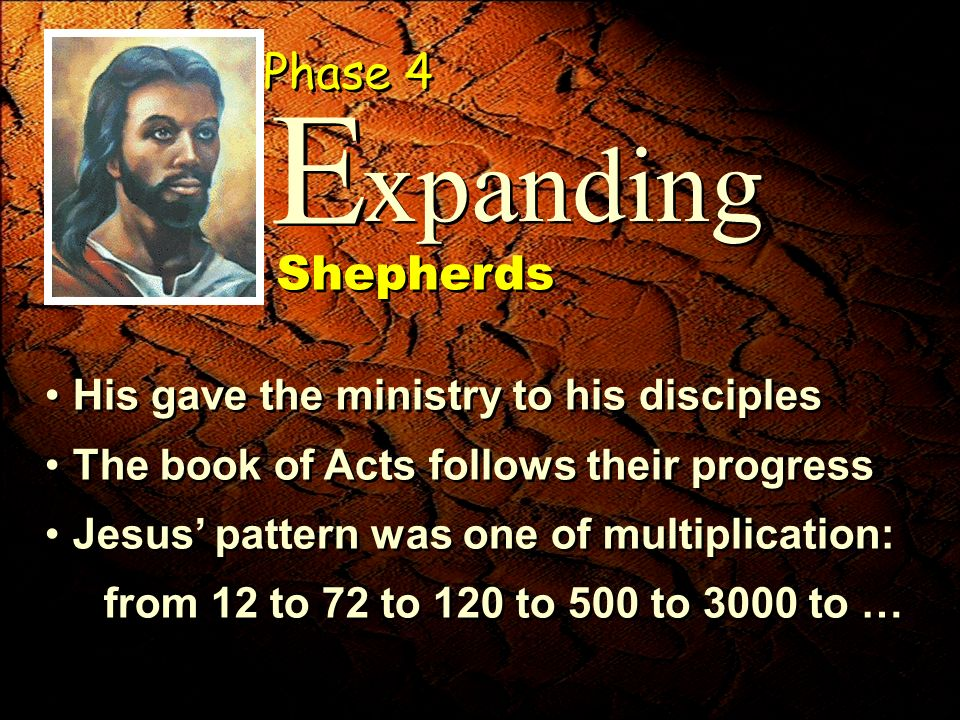 His gave the ministry to his disciples The book of Acts follows their progress Jesus pattern was one of multiplication: from 12 to 72 to 120 to 500 to