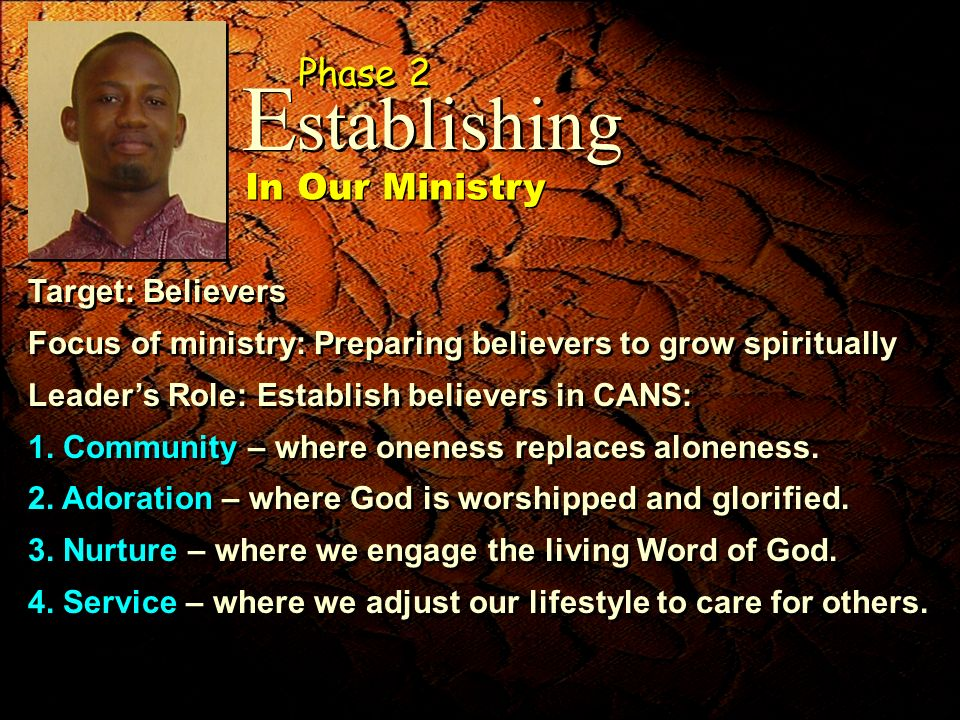 Target: Believers Focus of ministry: Preparing believers to grow spiritually Leaders Role: Establish believers in CANS: 1. Community – where oneness r
