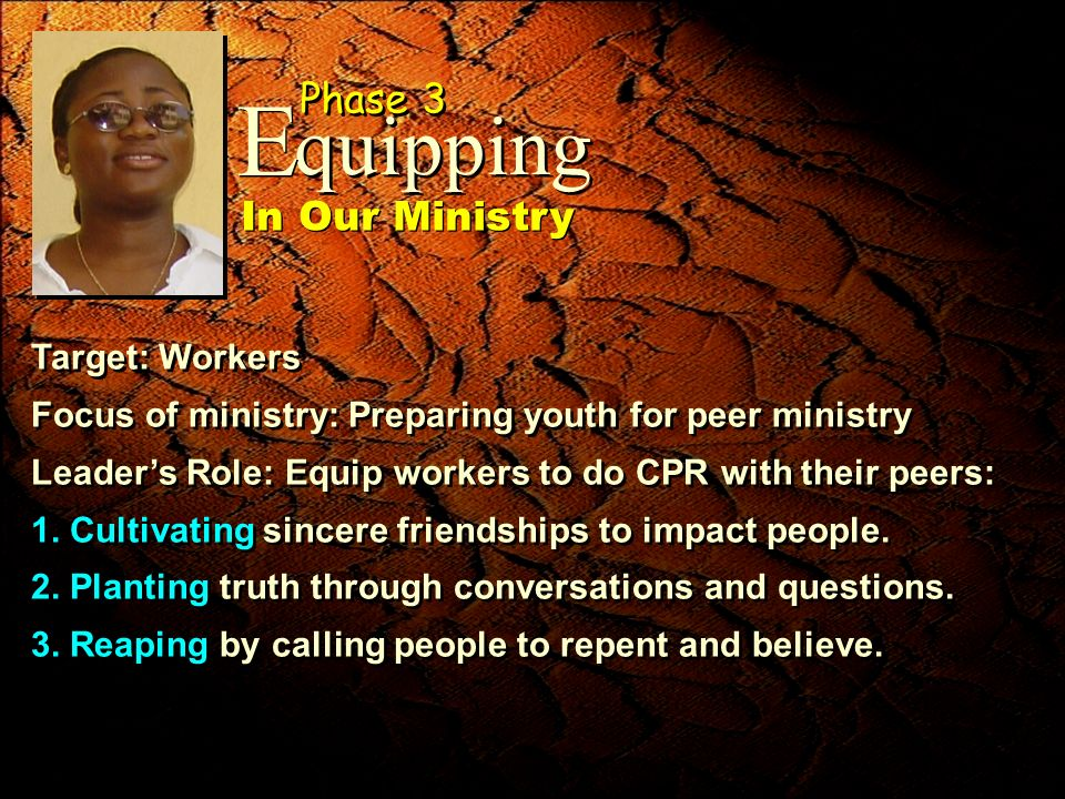 Target: Workers Focus of ministry: Preparing youth for peer ministry Leaders Role: Equip workers to do CPR with their peers: 1. Cultivating sincere fr