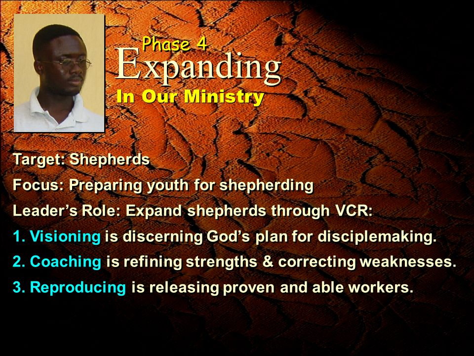 Target: Shepherds Focus: Preparing youth for shepherding Leaders Role: Expand shepherds through VCR: 1. Visioning is discerning Gods plan for disciple