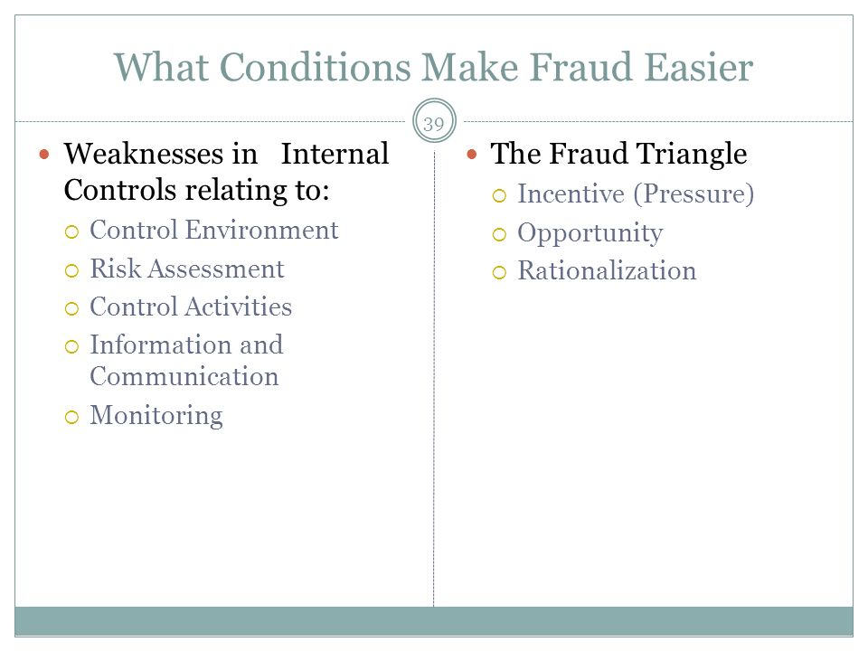 39 What Conditions Make Fraud Easier Weaknesses in Internal Controls relating to: Control Environment Risk Assessment Control Activities Information and Communication Monitoring The Fraud Triangle Incentive (Pressure) Opportunity Rationalization