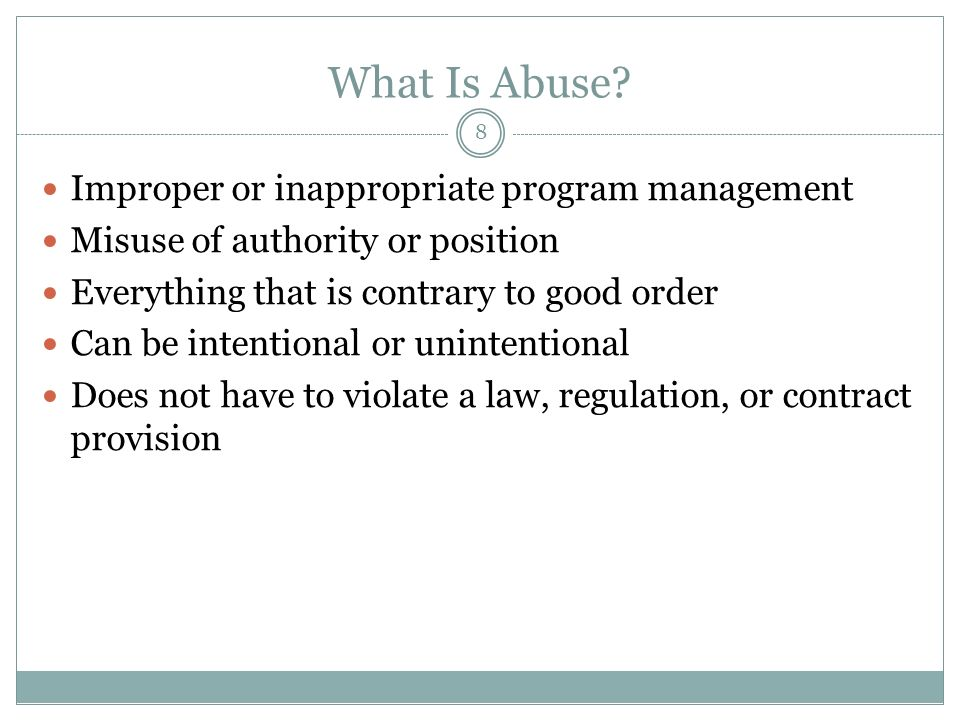 8 What Is Abuse.