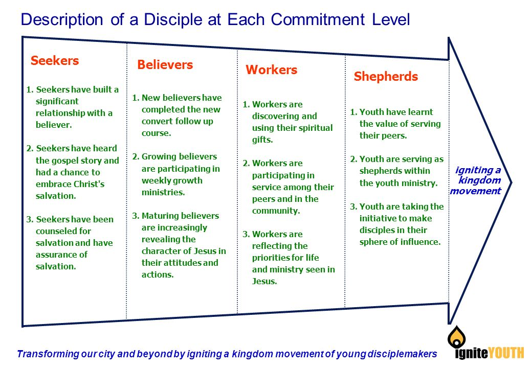Seekers igniting a kingdom movement Believers Workers Shepherds Description of a Disciple at Each Commitment Level 1.