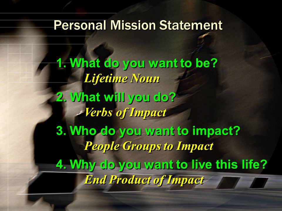 Personal Mission Statement 1. What do you want to be.