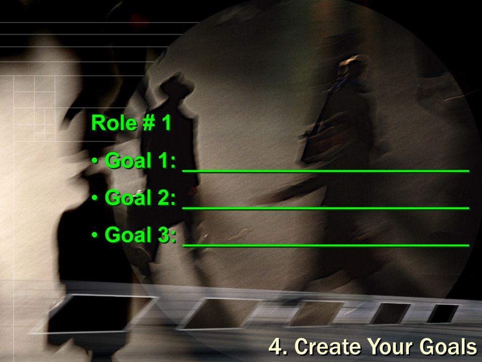 4. Create Your Goals Role # 1 Goal 1: ________________________ Goal 2: ________________________ Goal 3: ________________________ Role # 1 Goal 1: ____