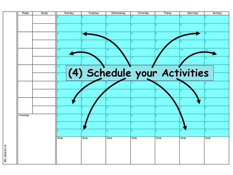 (4) Schedule your Activities