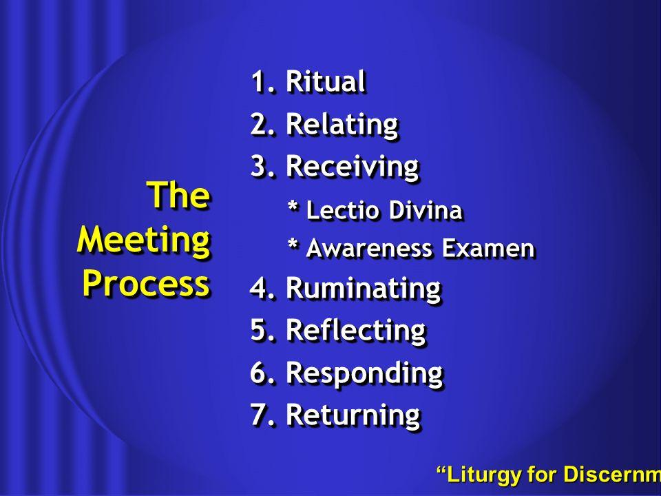 The Meeting Process 1. Ritual 2. Relating 3. Receiving * Lectio Divina * Awareness Examen 4.