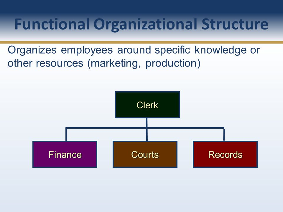 Organizes employees around specific knowledge or other resources (marketing, production) Clerk FinanceCourtsRecords Functional Organizational Structur