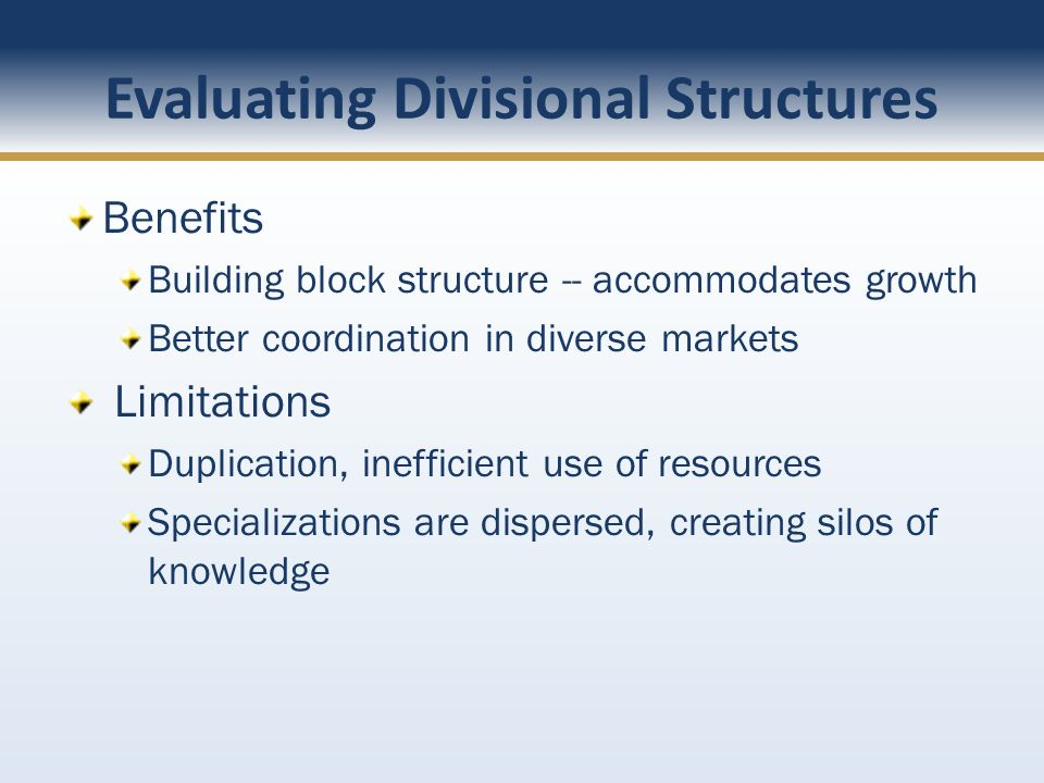 Evaluating Divisional Structures Benefits Building block structure -- accommodates growth Better coordination in diverse markets Limitations Duplicati