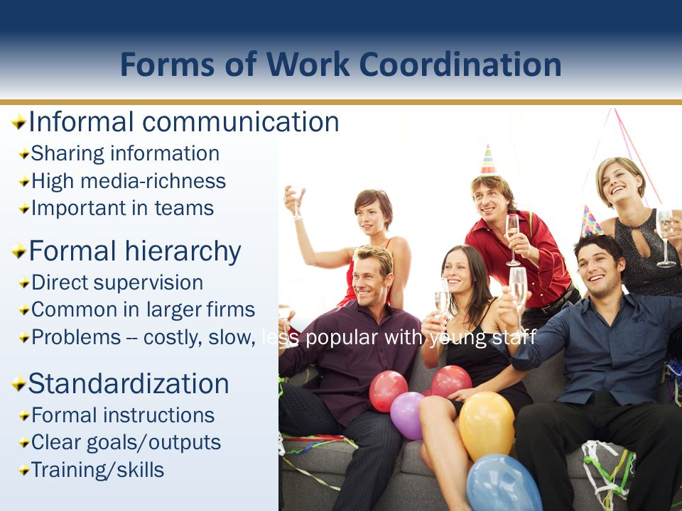 Forms of Work Coordination Informal communication Sharing information High media-richness Important in teams Formal hierarchy Direct supervision Commo