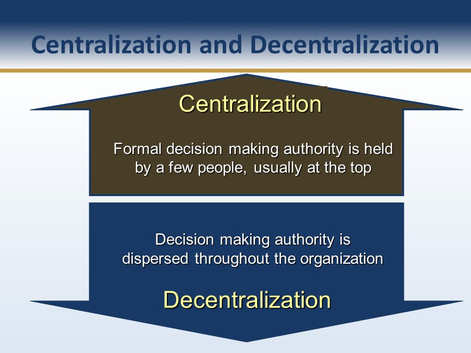 Formal decision making authority is held by a few people, usually at the top Centralization Decision making authority is dispersed throughout the orga