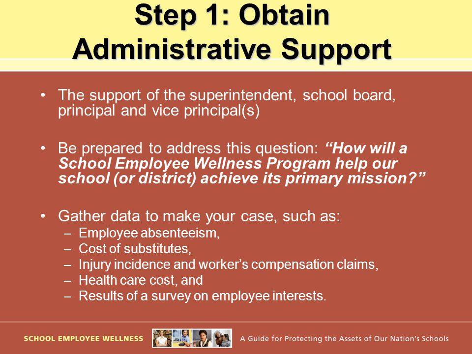 Step 1: Obtain Administrative Support The support of the superintendent, school board, principal and vice principal(s) Be prepared to address this que