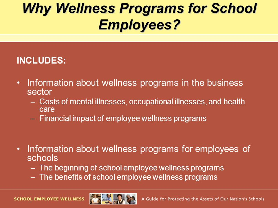 Why Wellness Programs for School Employees? INCLUDES: Information about wellness programs in the business sector –Costs of mental illnesses, occupatio