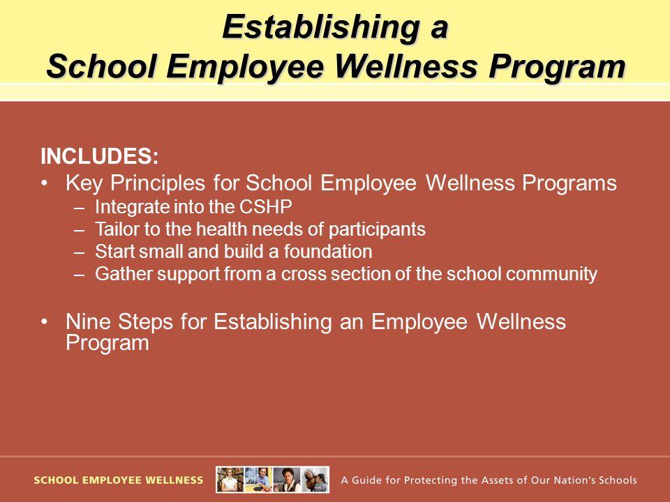 Establishing a School Employee Wellness Program INCLUDES: Key Principles for School Employee Wellness Programs –Integrate into the CSHP –Tailor to the