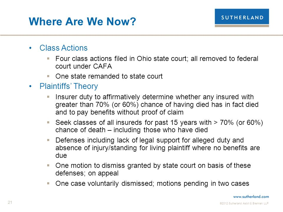 ©2012 Sutherland Asbill & Brennan LLP 21 Where Are We Now.