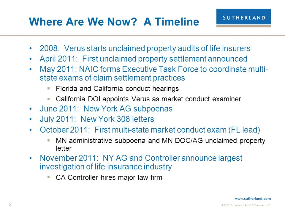 ©2012 Sutherland Asbill & Brennan LLP 5 Where Are We Now? A Timeline 2008: Verus starts unclaimed property audits of life insurers April 2011: First u