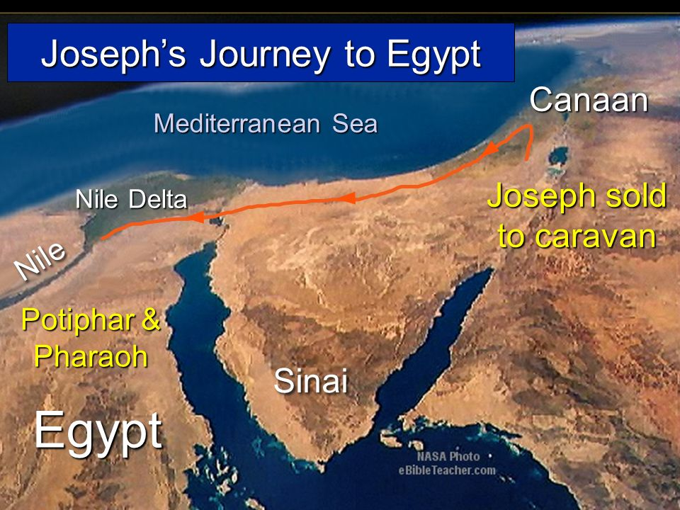 Egypt Nile Nile Delta Mediterranean Sea Sinai Canaan Josephs Journey to Egypt Joseph sold to caravan Potiphar & Pharaoh Josephs Journey to Egypt