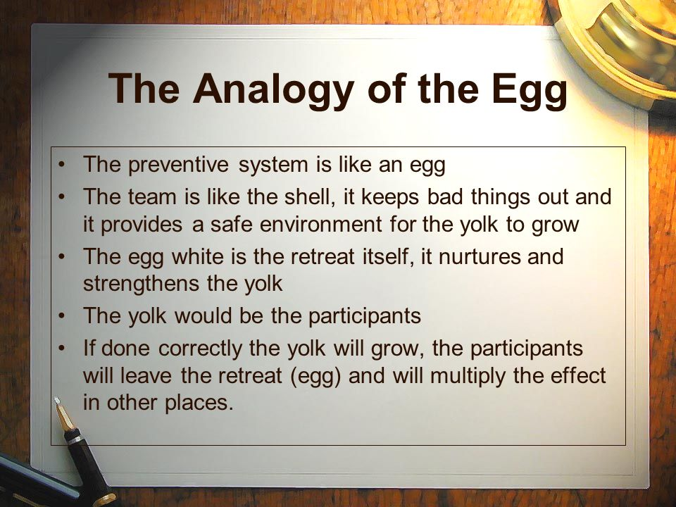 The Analogy of the Egg The preventive system is like an egg The team is like the shell, it keeps bad things out and it provides a safe environment for