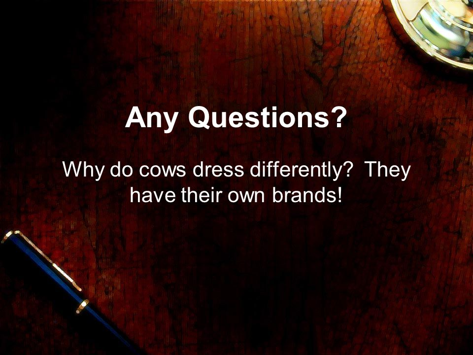 Any Questions? Why do cows dress differently? They have their own brands!