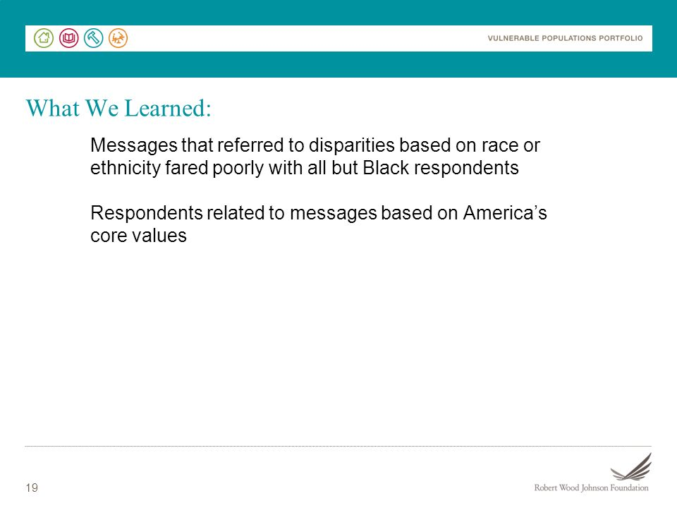19 Messages that referred to disparities based on race or ethnicity fared poorly with all but Black respondents Respondents related to messages based on Americas core values What We Learned: