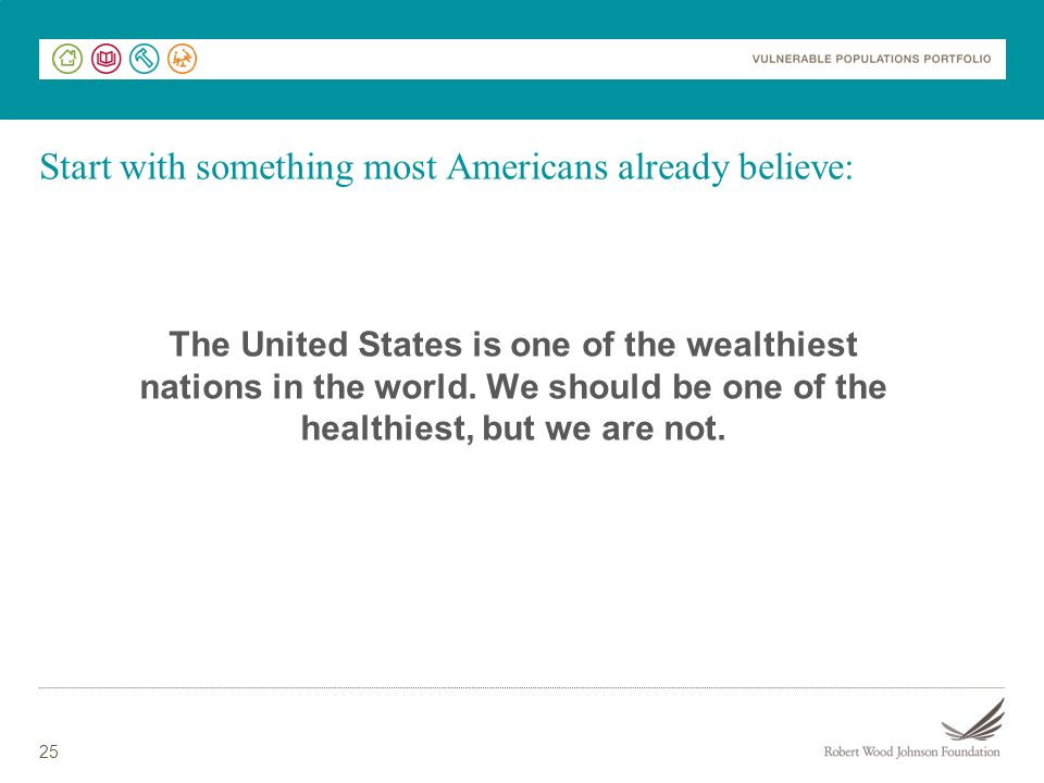 25 Start with something most Americans already believe: The United States is one of the wealthiest nations in the world.