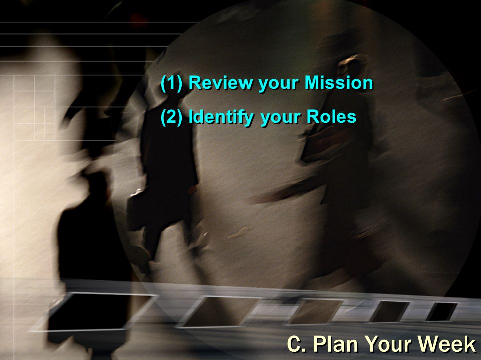 (1) Review your Mission (2) Identify your Roles (1) Review your Mission (2) Identify your Roles C.