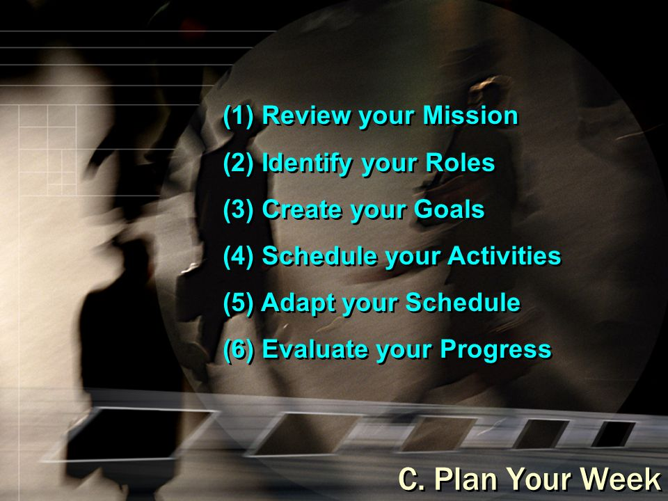 (1) Review your Mission (2) Identify your Roles (3) Create your Goals (4) Schedule your Activities (5) Adapt your Schedule (6) Evaluate your Progress (1) Review your Mission (2) Identify your Roles (3) Create your Goals (4) Schedule your Activities (5) Adapt your Schedule (6) Evaluate your Progress C.