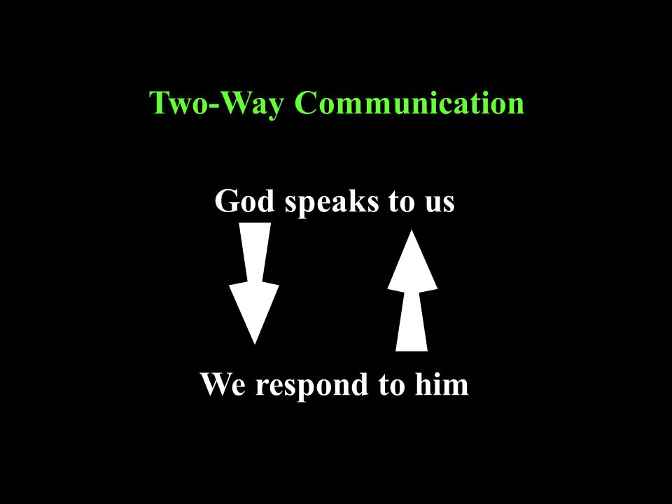 God speaks to us Two-Way Communication We respond to him