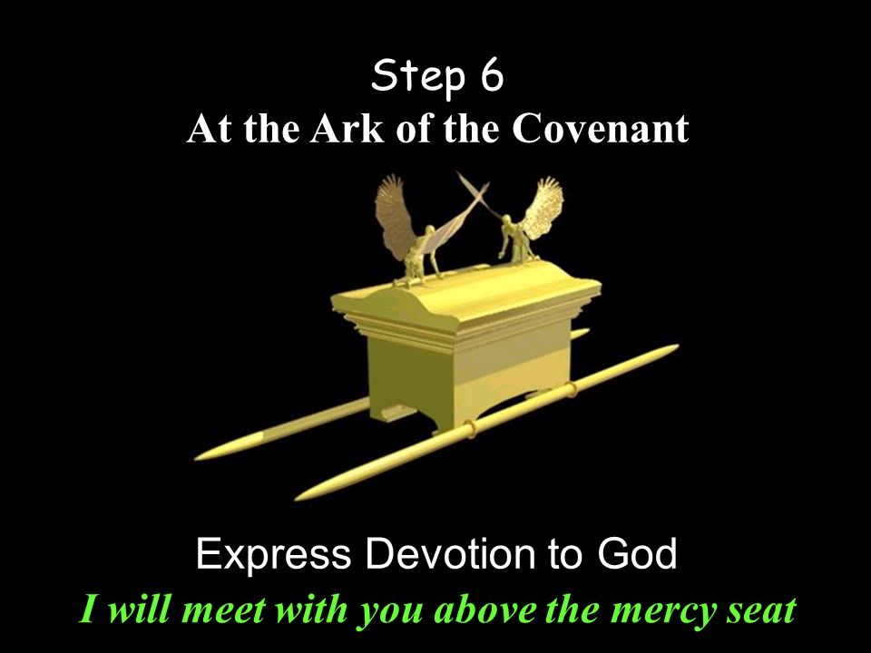 Step 6 At the Ark of the Covenant Express Devotion to God I will meet with you above the mercy seat