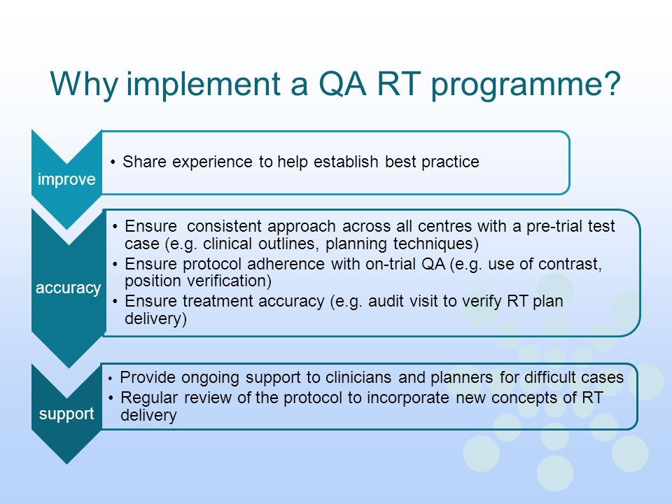Why implement a QA RT programme? improve Share experience to help establish best practice accuracy Ensure consistent approach across all centres with