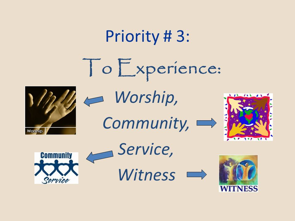 To Experience: Worship, Community, Service, Witness Priority # 3: