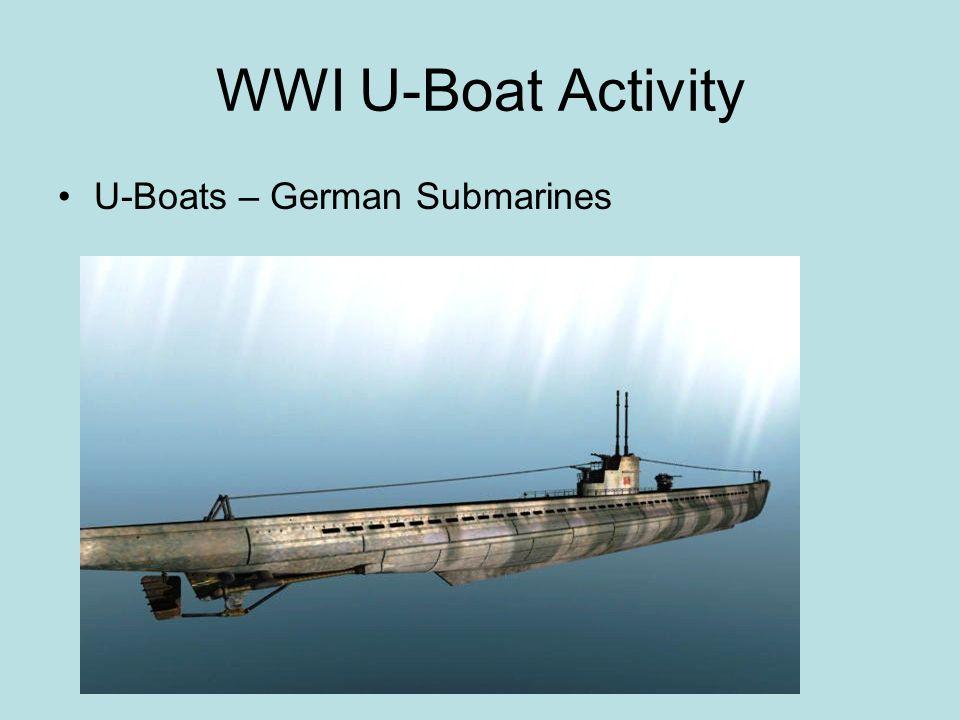 WWI U-Boat Activity U-Boats – German Submarines