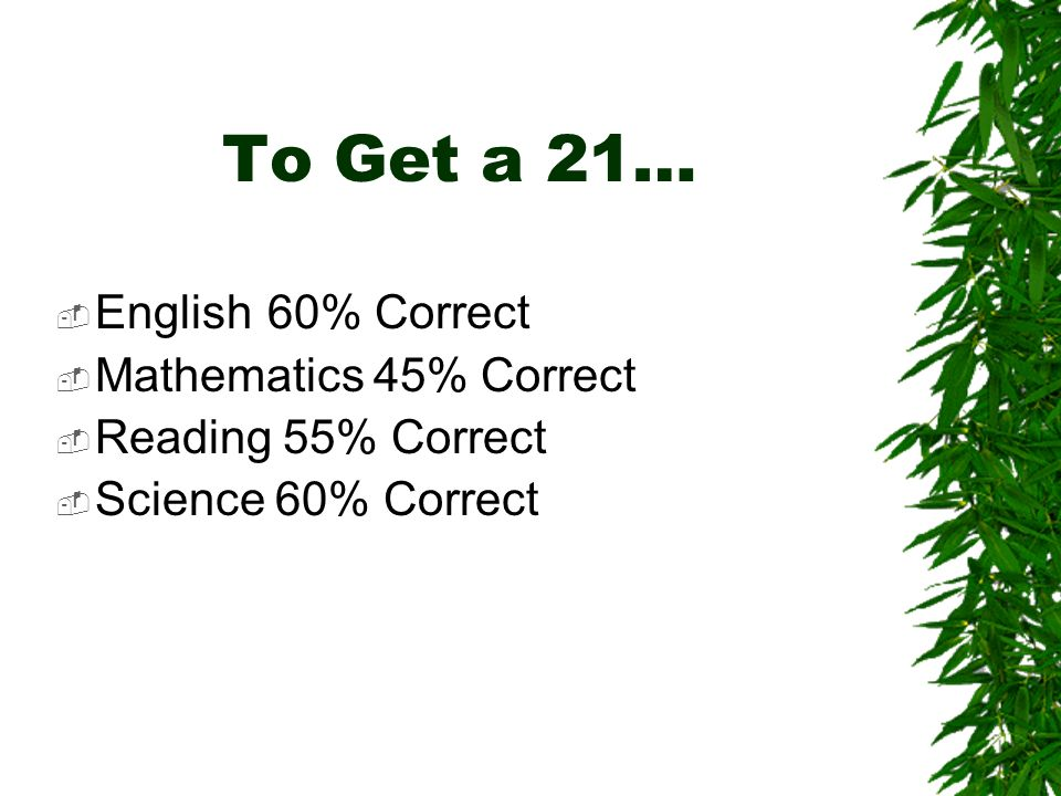 To Get a 21… English60% Correct Mathematics45% Correct Reading 55% Correct Science 60% Correct
