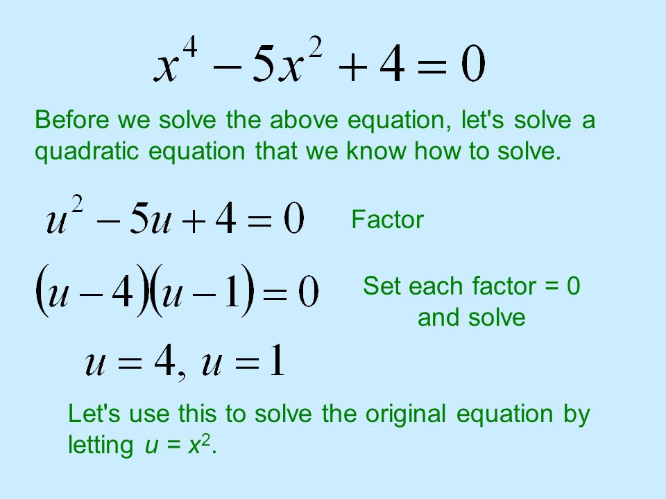 Before we solve the above equation, let's solve a quadratic equation that we know how to solve. Factor Set each factor = 0 and solve Let's use this to