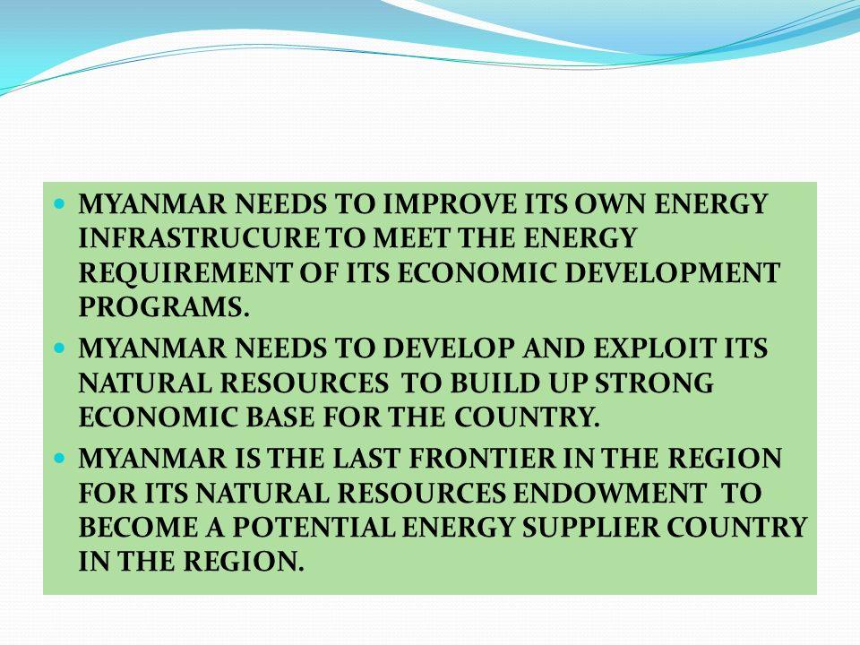 MYANMAR NEEDS TO IMPROVE ITS OWN ENERGY INFRASTRUCURE TO MEET THE ENERGY REQUIREMENT OF ITS ECONOMIC DEVELOPMENT PROGRAMS. MYANMAR NEEDS TO DEVELOP AN