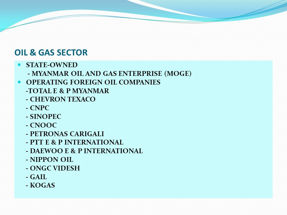 OIL & GAS SECTOR STATE-OWNED - MYANMAR OIL AND GAS ENTERPRISE (MOGE) OPERATING FOREIGN OIL COMPANIES -TOTAL E & P MYANMAR - CHEVRON TEXACO - CNPC - SI
