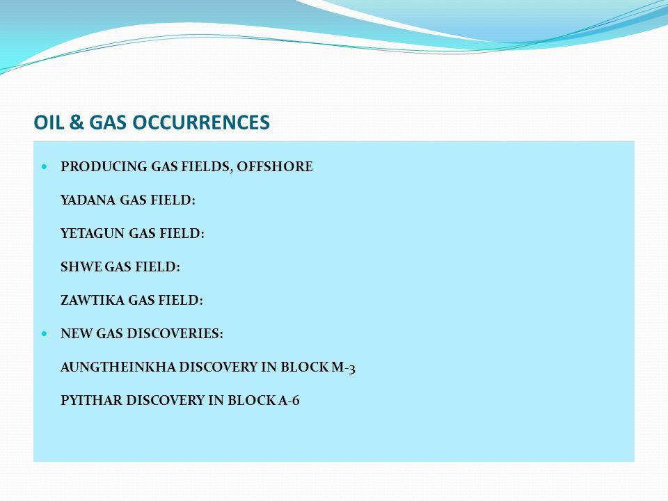OIL & GAS OCCURRENCES PRODUCING GAS FIELDS, OFFSHORE YADANA GAS FIELD: YETAGUN GAS FIELD: SHWE GAS FIELD: ZAWTIKA GAS FIELD: NEW GAS DISCOVERIES: AUNG