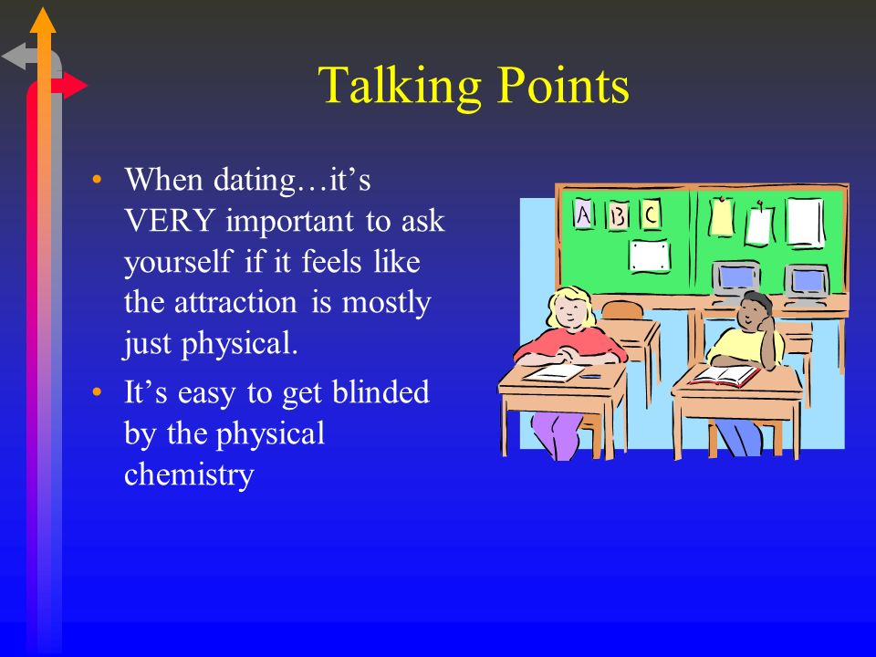 Talking Points When dating…its VERY important to ask yourself if it feels like the attraction is mostly just physical.