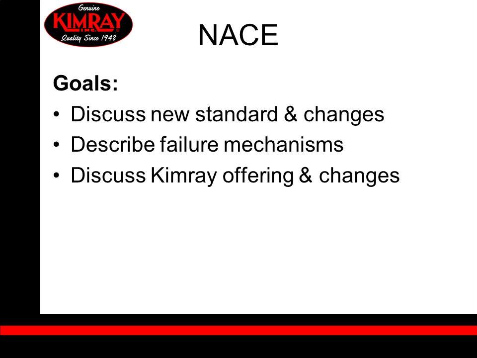 NACE Goals: Discuss new standard & changes Describe failure mechanisms Discuss Kimray offering & changes