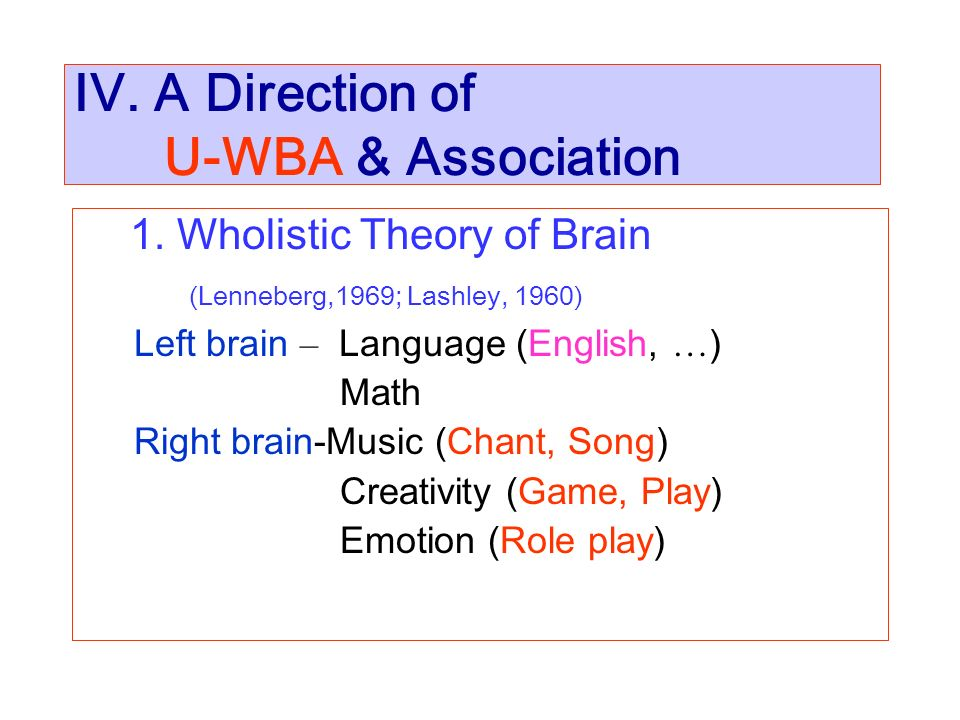 IV. A Direction of U-WBA & Association 1. Wholistic Theory of Brain (Lenneberg,1969; Lashley, 1960) Left brain – Language (English, … ) Math Right bra