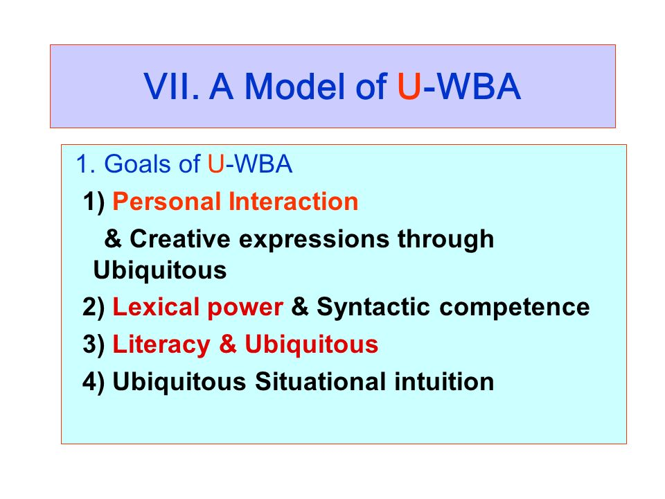 VII. A Model of U-WBA 1. Goals of U-WBA 1) Personal Interaction & Creative expressions through Ubiquitous 2) Lexical power & Syntactic competence 3) L