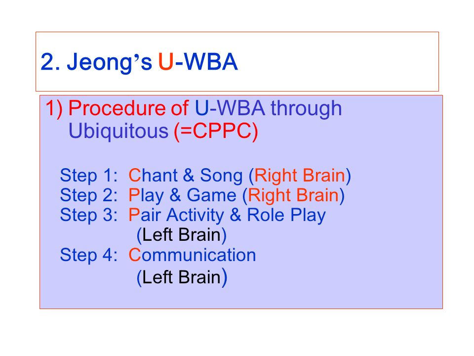 2. Jeong s U-WBA 1)Procedure of U-WBA through Ubiquitous (=CPPC) Step 1: Chant & Song (Right Brain) Step 2: Play & Game (Right Brain) Step 3: Pair Act